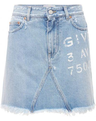 Niebieska spódnica mini bawełniana z printem Givenchy