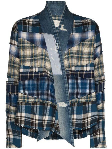 Niebieskie jeansy bawełniane w kratę Greg Lauren