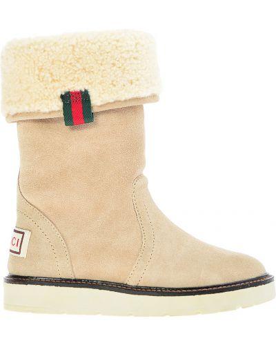 Сапоги замшевые шерстяной Gucci