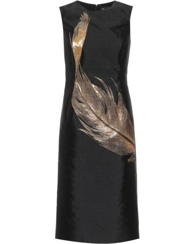 Золотистое желтое шелковое платье миди с вышивкой Oscar De La Renta