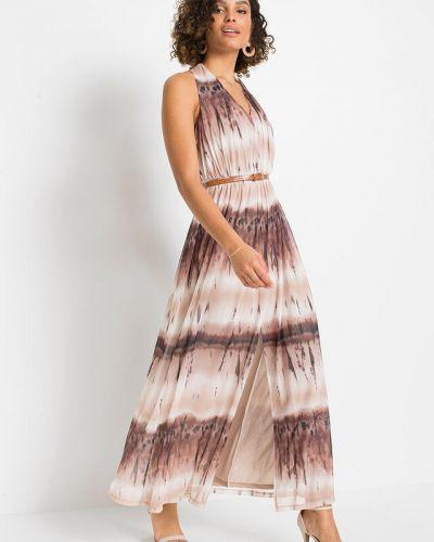 Бежевое платье макси с принтом Bonprix