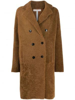 Кожаное длинное пальто с капюшоном двубортное Inès & Maréchal