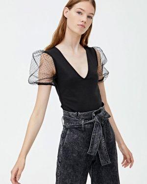 Блузка с коротким рукавом черная Pull&bear