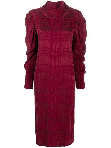 Фиолетовое прямое платье с драпировкой с воротником Tela