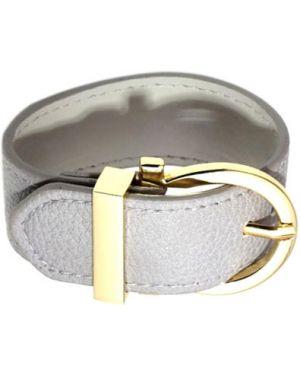 Кожаный браслет большой золотой Evora
