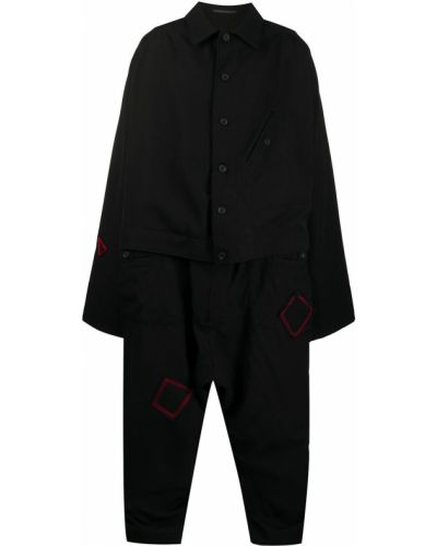 Puchaty czarny kombinezon bezpłatne cięcie z haftem Yohji Yamamoto