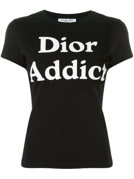 Czarny t-shirt bawełniany krótki rękaw Christian Dior