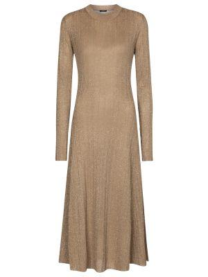 Золотистое платье миди золотое из вискозы Joseph
