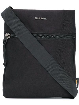 Черная сумка на плечо на молнии с карманами Diesel