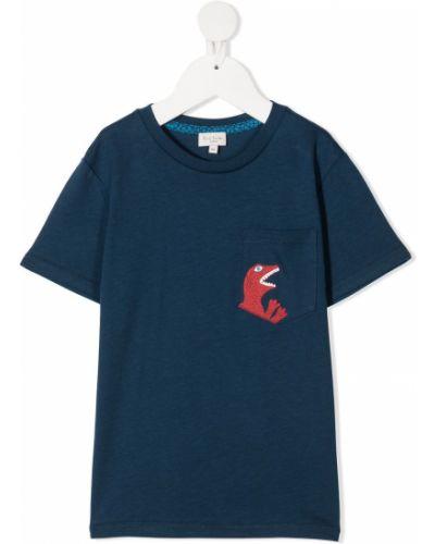 Хлопковая синяя прямая футболка с круглым вырезом Paul Smith Junior