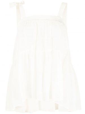 Шелковая белая блузка без рукавов Semicouture