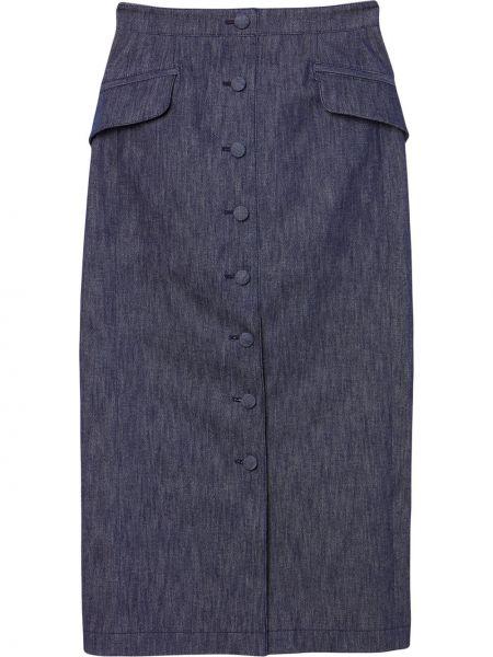 С завышенной талией синяя юбка миди на пуговицах Carolina Herrera