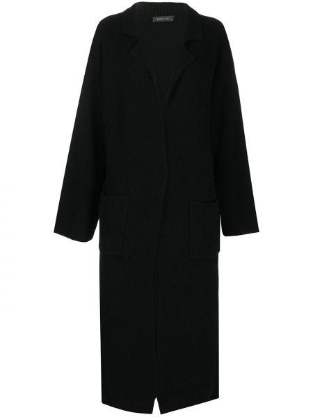 Открытое кашемировое черное длинное пальто с поясом Philo-sofie