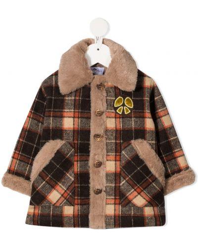 Коричневое с рукавами пальто на пуговицах из искусственного меха Raspberry Plum