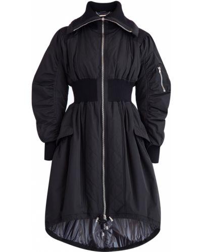 Длинная куртка черная на молнии Alexander Mcqueen