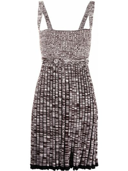 Коричневое прямое трикотажное платье Christopher Esber