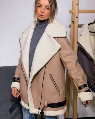 Кожаная куртка - бежевая Rozetka