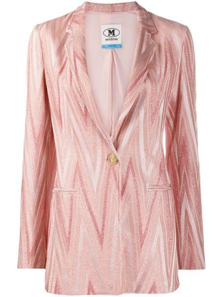 Розовый удлиненный пиджак на пуговицах из вискозы M Missoni