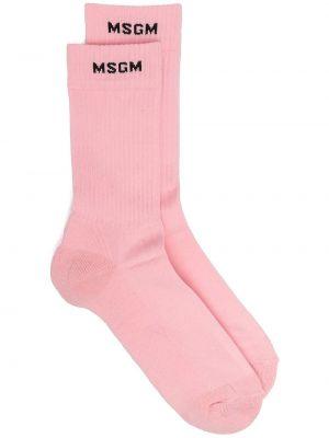 Хлопковые розовые носки эластичные Msgm