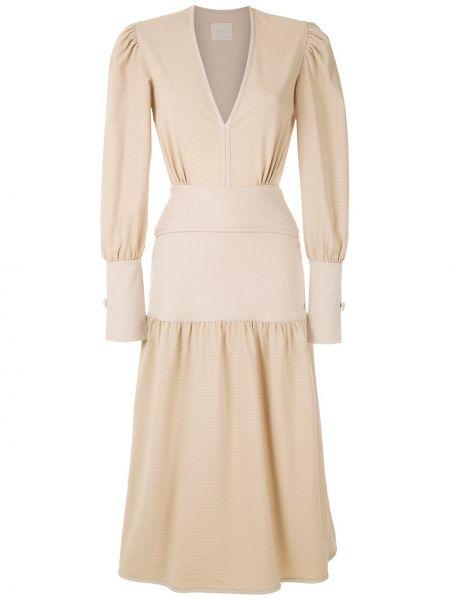 Платье миди на пуговицах с V-образным вырезом Framed