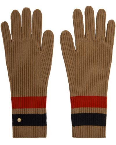 Ciepłe czarne rękawiczki wełniane Burberry