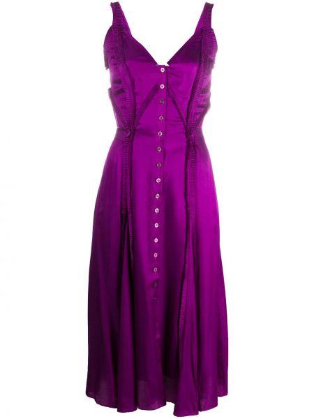 Тонкое платье на пуговицах на бретелях с V-образным вырезом Temperley London