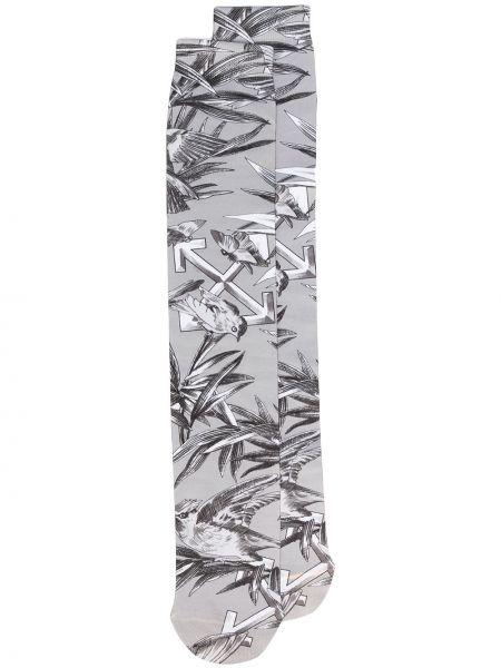 Белые носки эластичные в рубчик Off-white