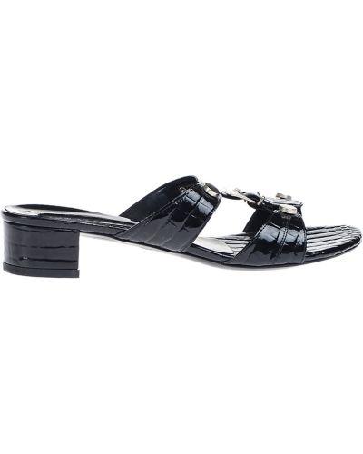 Шлепанцы на каблуке черные Albano