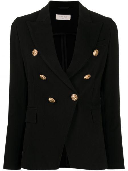 Черный приталенный удлиненный пиджак с карманами Circolo 1901