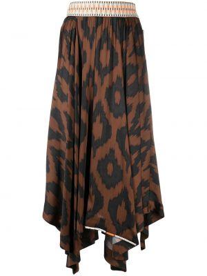 Коричневая асимметричная юбка миди из вискозы Bazar Deluxe