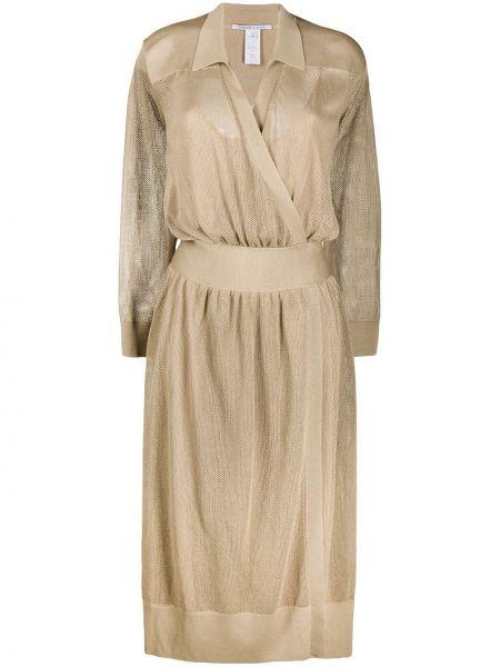 Платье макси с длинными рукавами - бежевое Agnona