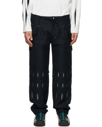 Czarne spodnie wełniane z haftem Kiko Kostadinov