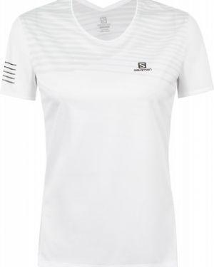 Белая футбольная прямая спортивная футболка для бега Salomon