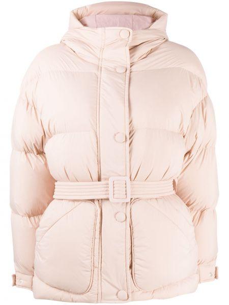 Классическая прямая розовая нейлоновая куртка с капюшоном Ienki Ienki