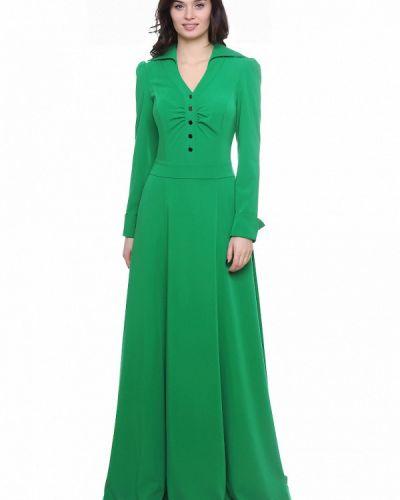 Платье макси осеннее зеленый Olivegrey