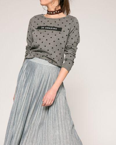 Плиссированная юбка с поясом серая Haily's