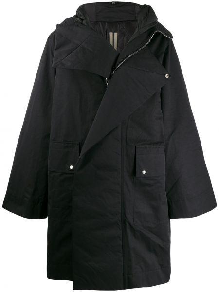 Czarny płaszcz z kapturem rozkloszowany Rick Owens Drkshdw