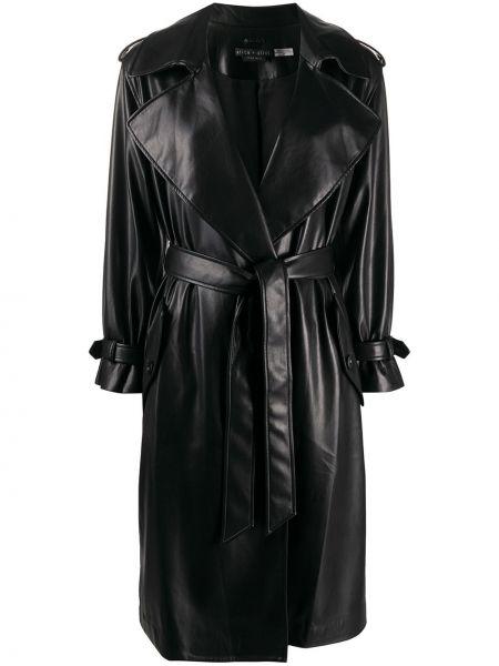 Czarny płaszcz skórzany z długimi rękawami Alice+olivia