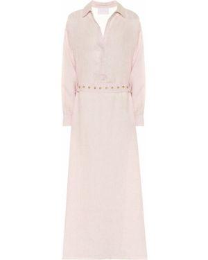 Розовое платье макси из штапеля Asceno