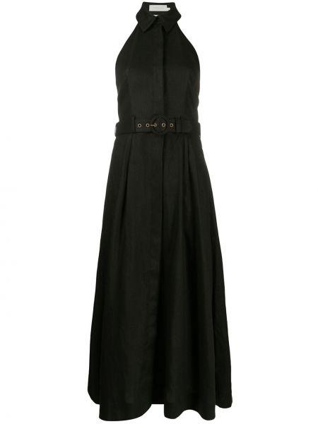 Платье миди с поясом черное Zimmermann