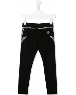 Хлопковые черные брюки с поясом Philipp Plein