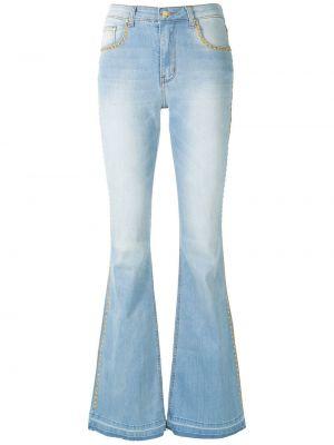 Синие с завышенной талией брюки дудочки с карманами Amapô