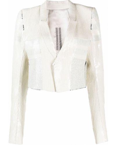 Белый удлиненный пиджак с вышивкой с длинными рукавами Rick Owens