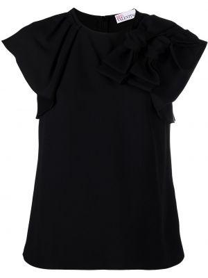 С рукавами черная футболка с вырезом Red Valentino