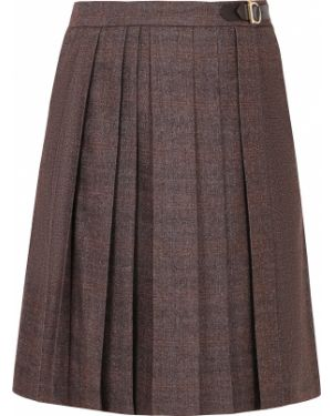 Плиссированная юбка миди кожаная Salvatore Ferragamo