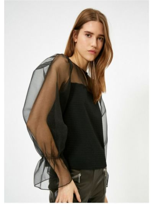 Czarna bluzka tiulowa Koton