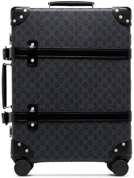 Czarna walizka skórzana Gucci