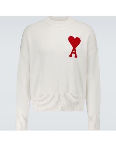 Белая спортивная льняная свитер Ami Paris