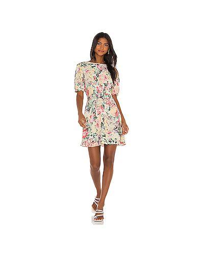 Бежевое шелковое платье мини на молнии с вырезом Faithfull The Brand