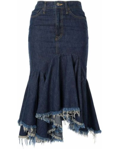 Джинсовая юбка миди - синяя Facetasm
